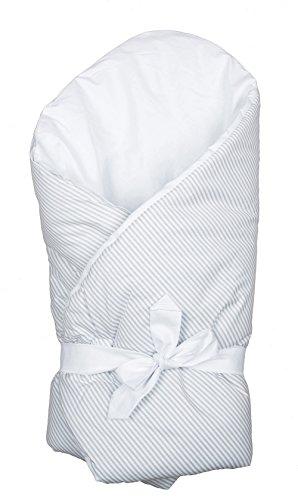 Vizaro - BABYHÖRNCHEN / Einschlagdecke / Wickeltuch / Decke / Pucksack - verpolstert, sehr weich - 100% Baumwolle - Hergestellt in der EU mit kontrolle gegen schädlichen substanzen - SICHERES PRODUKT: das baby kann ohne risiko daran lutschen - Graue Linien