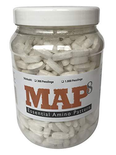 MAP8 :: MASTER AMINO ACID PATTERN :: MAP-Amino :: 1000 Presslinge á 1,1 g :: essentielle Aminosäuren :: vegan :: beste Bio-Verfügbarkeit :: in D hergestellt :: Erhöht Muskelmasse, Kraft und Ausdauer