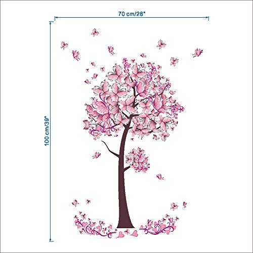 Rosa Schmetterling Schlafzimmer-Wohnzimmer Wandaufkleber Rosa 70x100cm