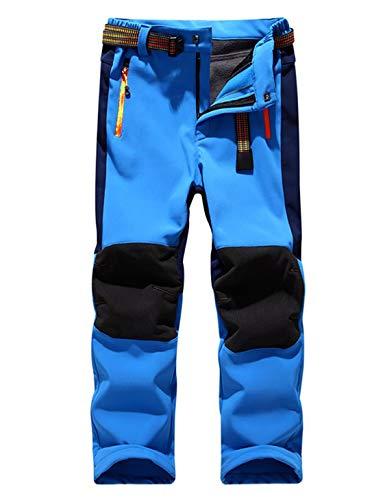 Echinodon Kinder Softshellhose mit Fleecefütterung Wasserdicht Winddicht Atmungsaktiv Warm Funktionshose Skihose Regenhose Jungen Mädchen Sporthose Wanderhose Blau M