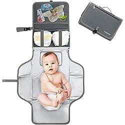 Pomelo best Cambiador portatil de pañales para bebe Impermeable | Kit Cambiador Bebe Viaje | Esterilla Lavable de Quita y Pon | Perfecto para Usar Fuera de Casa (Gris)