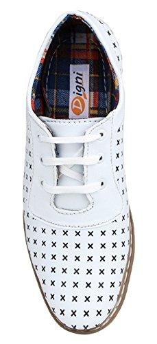 Digni formelle décontractée conduite faux chausson en cuir partie usure slip des hommes sur les chaussures Blanc