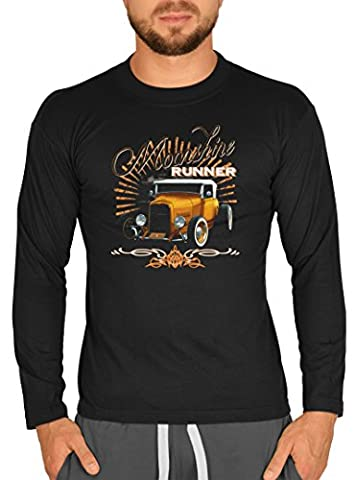 American-Style Langarm-Shirt Herren Longsleeve lässiger US-Car Aufdruck: Moonshine Runner Hot Rod