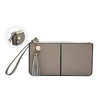 Befen Soft Leather Smartphone Wristlet Wallet Clutch With Exquisite Tassels/Wrist Strap/Card slots/Cash pocket- Fit iPhone 8/7/6 Plus-Gray