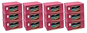 Kuber Industries 12 Piece Non Woven Saree Cover Set, Pink,Large Size -CTKTC6412