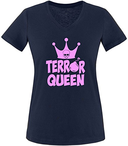 EZYshirt® Terror Queen Damen V-Neck T-Shirt Navy/Rosa