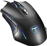 PICTEK - Ratón para Gaming con 7 Botones programable, con Cable de 7200 dpi Ajustable, ratón de Juego Profesional para PC, Ordenador portátil