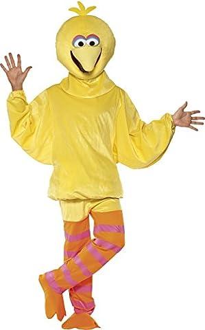 Sesamstraße Großer Vogel Kostüm Gelb mit Jumpsuit und Kopfbedeckung, Medium