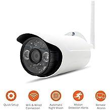 Fotocamera IP di sorveglianza esterna HD - Visione notturna e notturna - Memoria 16 GB per la registrazione video - Rilevazione di movimento, avvisi in tempo reale - iOS, smartphone Android o PC