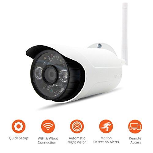 Outdoor-Sicherheit IP-Kamera, WiFi-Kamera, Bewegungserkennung, Aufzeichnung, Warnungen, Live-Überwachung, Tag & Nacht Vision, WiFi-Überwachung, 720P, iOS/Android Telefon/PC. 16GB Eingebauter Speicher (Outdoor Nacht Kamera Sicherheit)