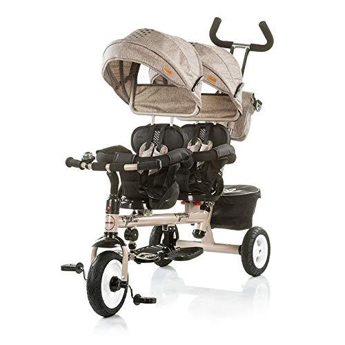Chipolino Tricycle Dreirad Apollo für Zwillinge mit Lenkstange, Sonnendach, Korb (Braun)