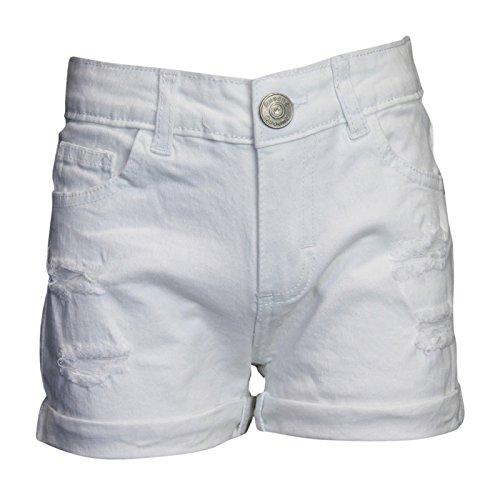 Ozmoint Girls Shorts Turn up Hotpants Stretch Denim Cut Rips Detail Five Pocket Jean (7-13 Years) Black Light Blue White