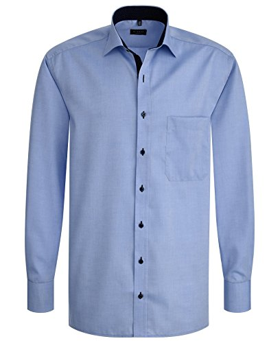 Eterna - Comfort Fit - Bügelfreies Herren Langarm Hemd mit extra langem Arm (68 cm) in Blau (8100 E137) Blau (12)