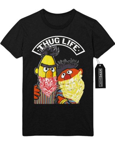 T-Shirt Sesam Straße Ernie Und Bert Thug Life C497342 Schwarz M