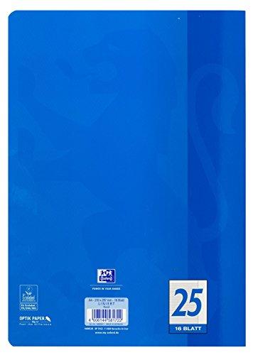OXFORD 100050311 Schulheft Schule 15er Pack A4 16 Blatt Lineatur 25 - liniert mit Rand blau - 4