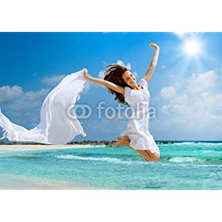 adrium Beautiful Girl with White Scarf Jumping on The Beach (41058372)