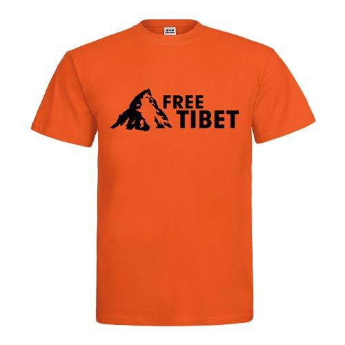 dress-puntos Herren T-Shirt Free Tibet drpt-t00049 Textil orange / Motiv schwarz Gr. XXL (Tibet Schwarz T-shirt Free)