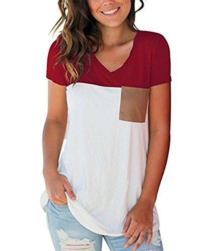 The Aron ONE Damen T-Shirts Sommer Basic V-Ausschnitt Farbblock Casual Kurzarm Oberteil Bluse Top T-Shirts mit Tasche (Burgundy, Small)