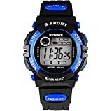 Kids Digital Watches for Boys - Waterproof Sports Watch with Alarm/Timer, Black Childrens