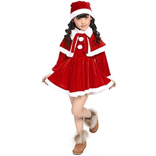 K-youth® Navidad Christmas Bebe Niña Disfraz Traje de navidad Vestido de manga larga Chal Sombrero (10-11 Años, Rojo)