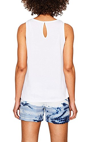 edc by ESPRIT Damen Top 067cc1k057 Weiß (White 100)