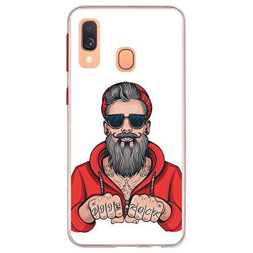 BJJ SHOP Transparent Hülle für [ Samsung Galaxy A40 ], Klar Flexible Silikonhülle, Design: Hipster Man, Tattoos mit Bart und Sonnenbrille