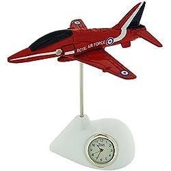 Miniature Silver RAF Red Arrows Plane Novelty Desktop Collectors Clock RAF162