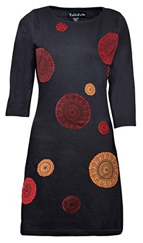 La robe de manches trimestre de femmes avec mandala broderie -Coconut Noir