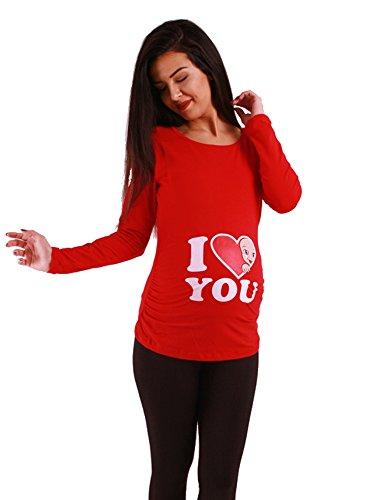 M.M.C. I Love You - Lustige Witzige Süße Umstandsmode/Sweatshirt Umstandsshirt mit Motiv für Die Schwangerschaft/Schwangerschaftsshirt, Langarm (Rot, Small) (Footless Super Shaper)