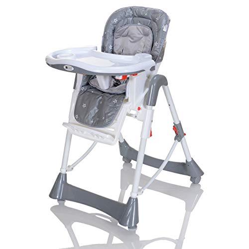 Baby Hochstuhl mit Liegeposition | höhenverstellbarer und klappbarer Kinderhochstuhl mit 5...