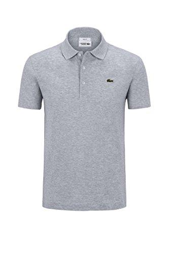 Lacoste YH4801 Herren Poloshirt L1230 SF in Slim Fit, Polohemd, Polo, Kurzarm aus 100% Baumwolle Grau (Silver Chine CCA), EU 7
