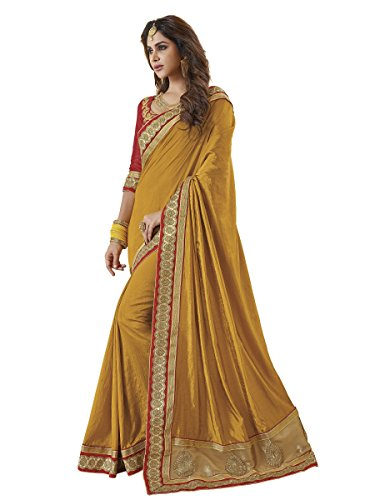 EthnicJunction Women's Silk Zari Lace Border Saree With Blouse(Golden Yellow,EJ1176-7983)