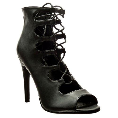 Angkorly Scarpe Moda scarpe decollete stiletto sexy donna multi-briglia merletto Tacco Stiletto alto 11 CM Nero