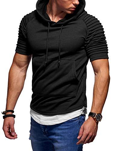 behype. Herren Kurzarm Biker T-Shirt Sweatshirt Hoodie mit Kapuze 20-2200 Schwarz L Biker Hoodies