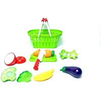 Kids Grocery Shopping Basket With A Combination Of Fruit & Vegetables Kitchen Role Play Dress Up Toy Set Accessories