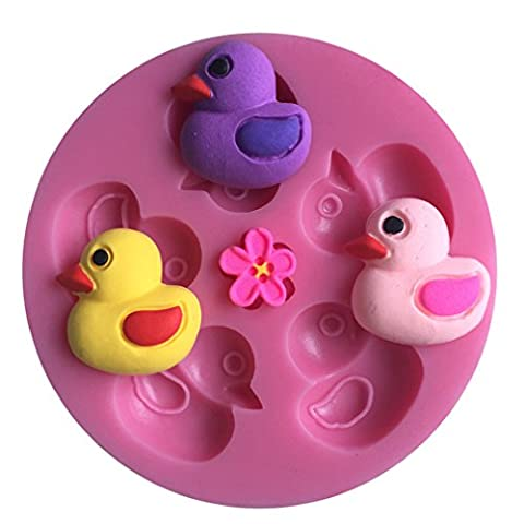 LYNCH 3D Ducks Shaped Silicone Mold Cake Candy Chocolate Moulds,Pink