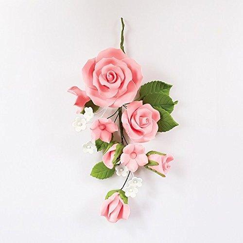 Pinke Rose Zuckerblume als Hochzeitstags-/Jahrestags-Kuchendekoration