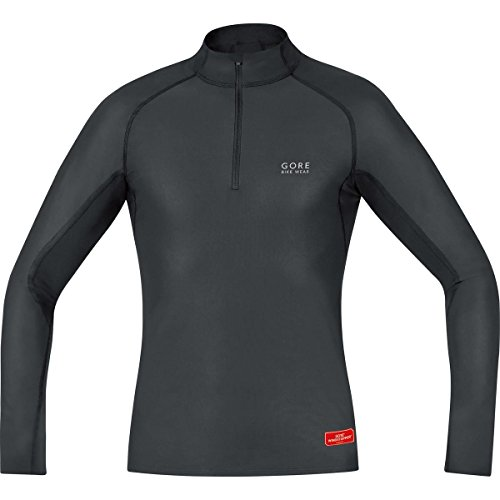 GORE BIKE WEAR Base Layer Windstopper - Maillot cuello de ciclismo para hombre, color negro, talla S