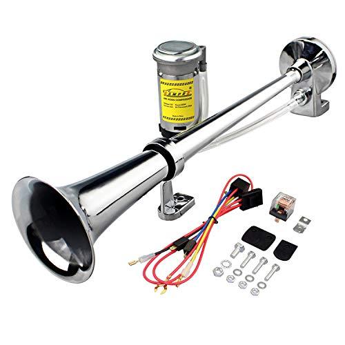 GAMPRO 12V 150db Air Horn, 45cm Chrom Zink Single Trumpet Truck Air Horn mit Kompressor für alle 12V Fahrzeuge LKW Lorrys Züge Boote Autos