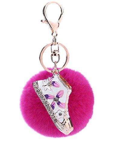 Sumolux Schlüsselanhänger Taschenanhänger Geburtstagsgeschenk mit Plüsch Kugel Ornament Rosa - Cheerleader Stoff