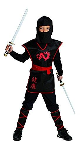 Kostüm Ninja Kind Black - Rubies Ninja Krieger Jungen Kinder Kostüm Fasching Karneval Verkleiden: Größe: 128