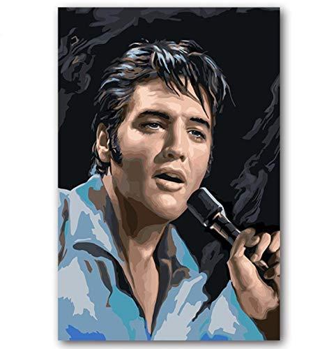 QHQ Rahmenlos Digitale Malerei DIY Malen Nach Zahlen Abbildung Musik Star Elvis Presley Bilder Malen Nach Zahlen 40X50Cm