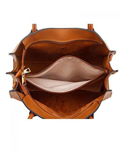LeahWard Damenmode Kunstleder Tote Handtaschen Schultertasche Geschäftsreise-Computer-Taschen für Frauen Schule treffen 00559 (BRAUN SCHULTERTASCHE) DUNKELGRAU SCHULTERTASCHE