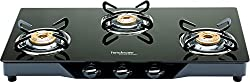 Hindware Armo GL 3B BLK Stainless Steel 3 Burner Cooktop, Black