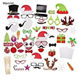 Questquo 17/28/35/50Pcs Photo Booth Props Christmas Decorations Funny Year Photo Props Happy Year Party Supplies Color 50 Pcs