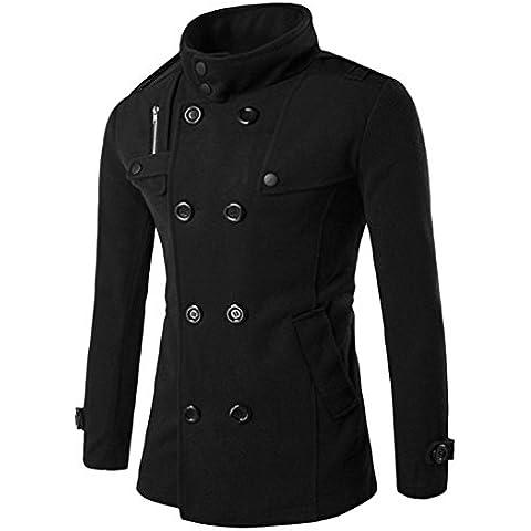 Coversolate Hombres doble fila de botones de cuello de la capa de suéter otoño de invierno de lana superior blusa