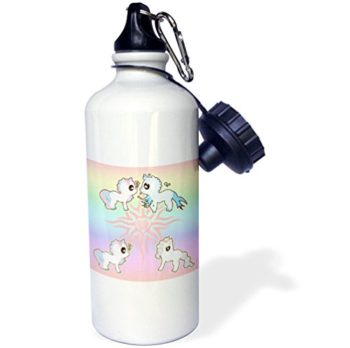 3dRose wb_211675_1 Unicorn with Hearts & Rainbows Sports Water Bottle, 21 oz, Natural