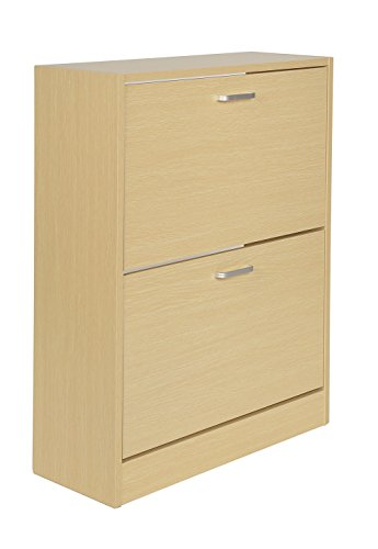 ts-ideen Schuhschrank Regal Schuhkipper Bad Flur Diele Standregal Schuhregal Holz Eiche hell 2...