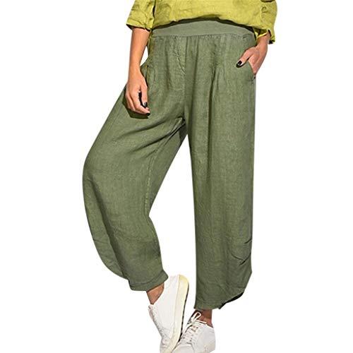 VJGOAL Damen Hosen, Frauen Hohe Taille Große Größen Volltonfarbe Baumwolle und Leinen Hose mit Weitem Bein Lose Hosen