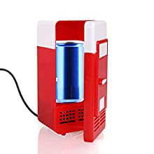 Discoball Mini Fridge Portable Small USB Cooler and Warmer LED Light (Red)